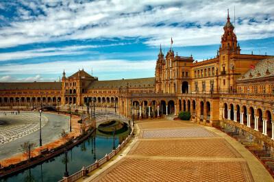 Plaza de España Sevilla op schoolreis